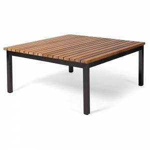 Haringe Square Lounge Table - Teak, Black Stainless Steel Frame