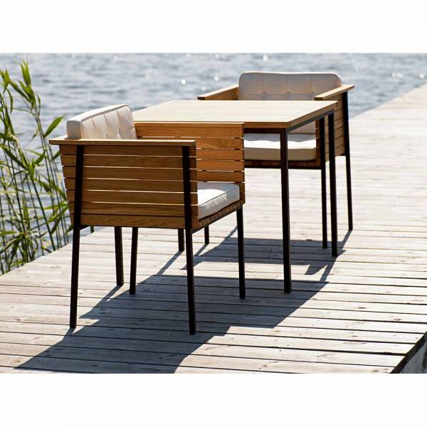 Haringe Square Table - Teak, Black Stainless Steel Frame