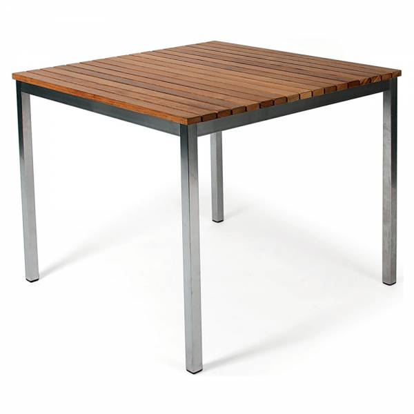 Haringe Square Table - Teak, Brushed Stainless Steel Frame