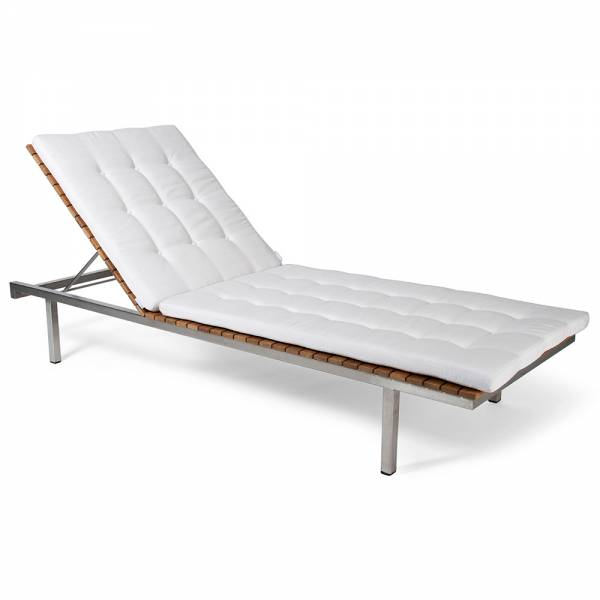 Haringe Sun Lounger - White Cushions, Brushed Stainless Steel