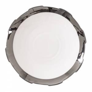 Machine Porcelain Dessert Plate - Design 1, Silver Edge, Set of 6