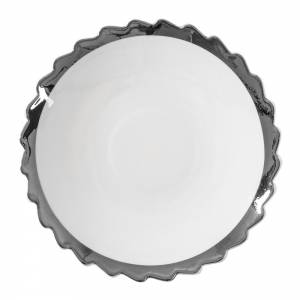 Machine Porcelain Dessert Plate - Design 2, Silver Edge, Set of 6