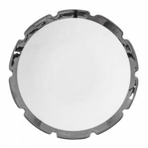 Machine Porcelain Dessert Plate - Design 3, Silver Edge, Set of 6