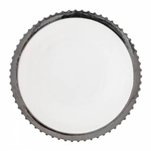 Machine Porcelain Dinner Plate - Design 1, Silver Edge