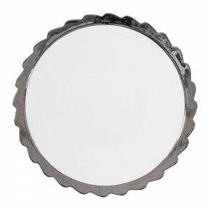 Machine Porcelain Dinner Plate - Design 2, Silver Edge
