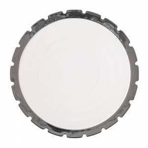 Machine Porcelain Dinner Plate - Design 3, Silver Edge