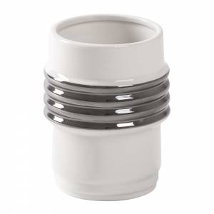 Machine Porcelain Mug - Design 2, Silver Edge, Set of 3