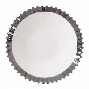 Machine Porcelain Soup Plate - Design 2, Silver Edge, Set of 6