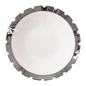 Machine Porcelain Soup Plate - Design 3, Silver Edge, Set of 6