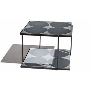 Marrakech Square Table - Gray White Shadow, Black Frame