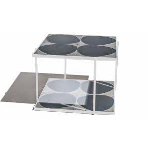 Marrakech Square Table - Gray White Shadow, White Frame