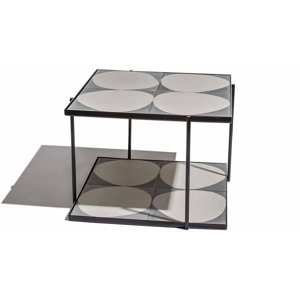 Marrakech Square Table - Gray White Stone, Black Frame