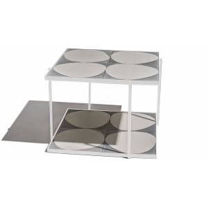 Marrakech Square Table - Gray White Stone, White Frame