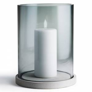 Moja Candle Lantern - Gray Glass