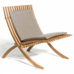 Nozib Lounge Chair - Gray Cushion, Teak