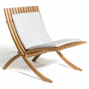 Nozib Lounge Chair - White Cushion, Teak
