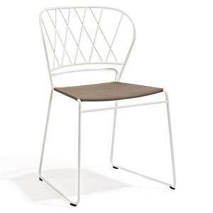 Reso Chair - Dark Beige Fabric, White Frame