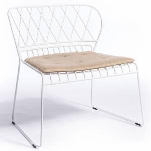 Reso Lounge Chair - Beige Cushion, White Frame
