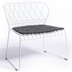 Reso Lounge Chair - Black Cushion, White Frame