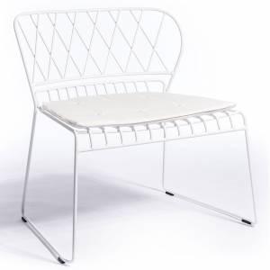 Reso Lounge Chair - White Cushion, White Frame