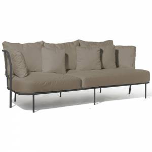 Salto Sofa - Beige Cushions, Charcoal Gray Frame
