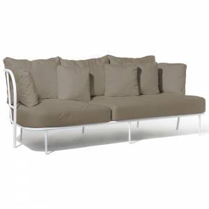 Salto Sofa - Beige Cushions, White Frame