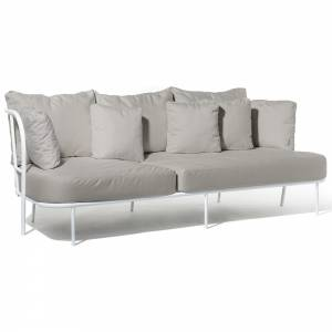 Salto Sofa - Gray Cushions, White Frame