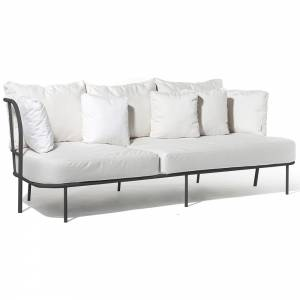 Salto Sofa - White Cushions, Charcoal Gray Frame