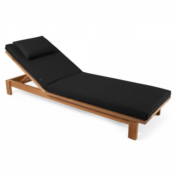 Skanor Sun Lounger - Black Cushion, Teak