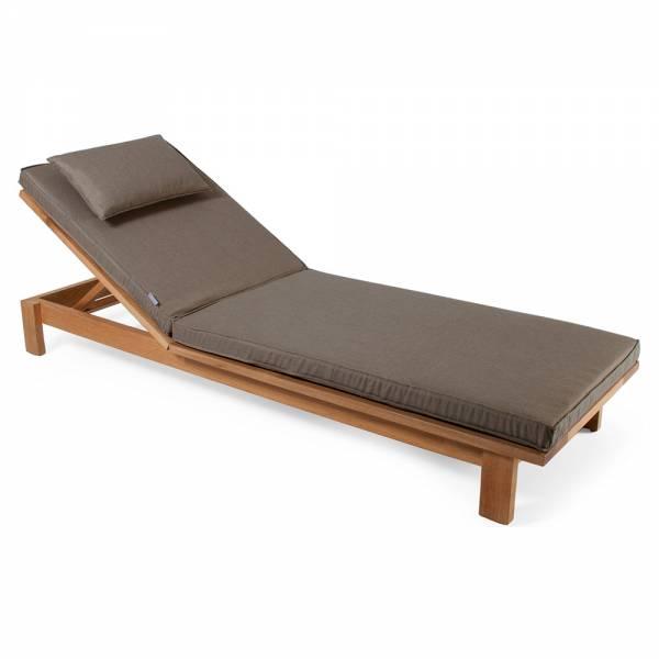 Skanor Sun Lounger - Dark Beige Cushion, Teak