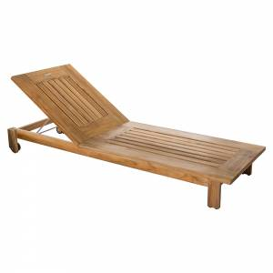 Skanor Sun Lounger With Wheels - Teak