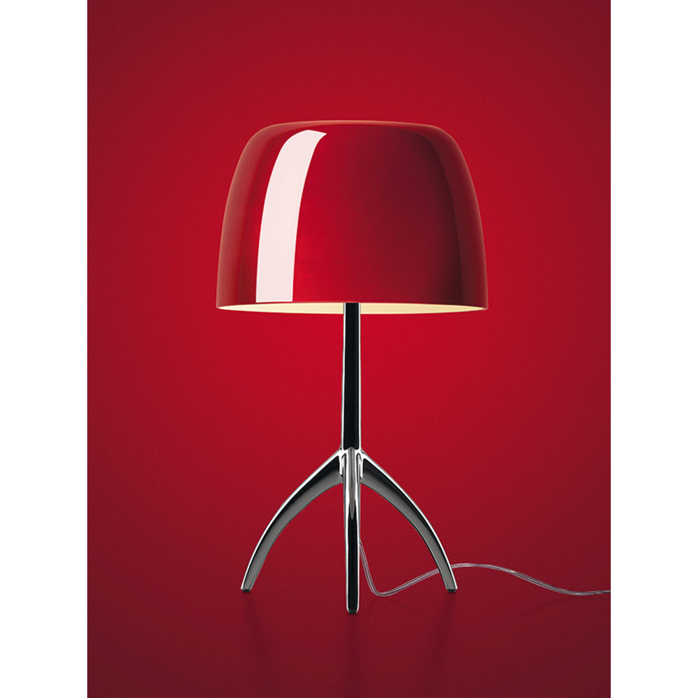 Lumiere Table Lamp Cherry Red Black Chrome Base Rouse Home