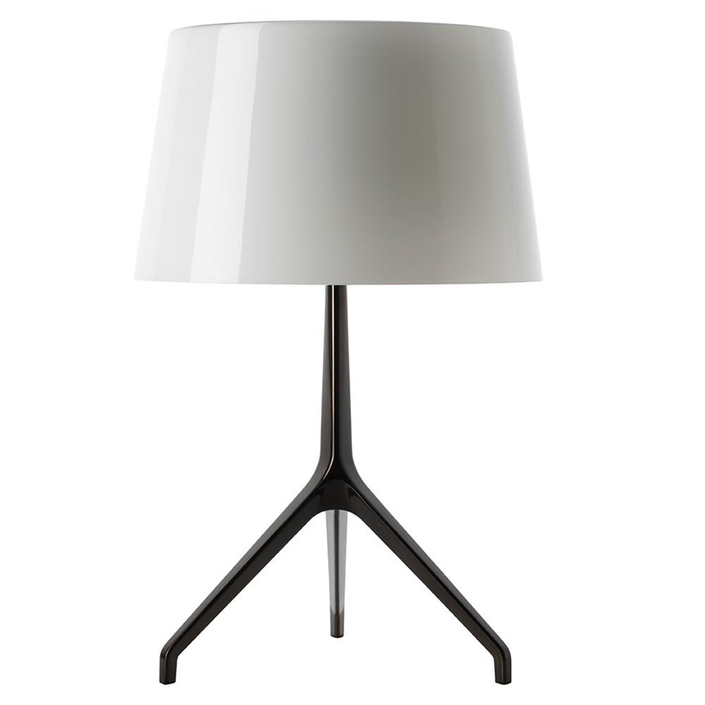 Lumiere Table Lamp White Shade Black Chrome Base