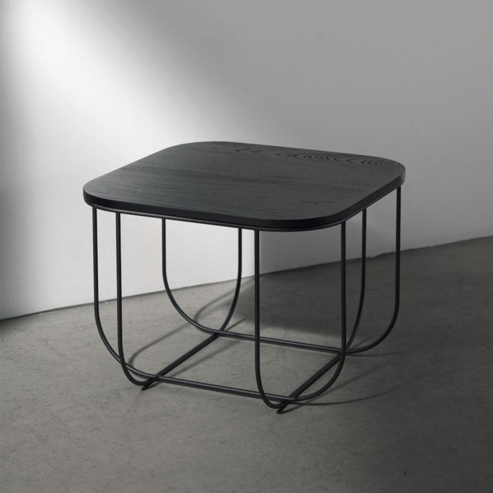 Cage Side Table Dark Ash Black