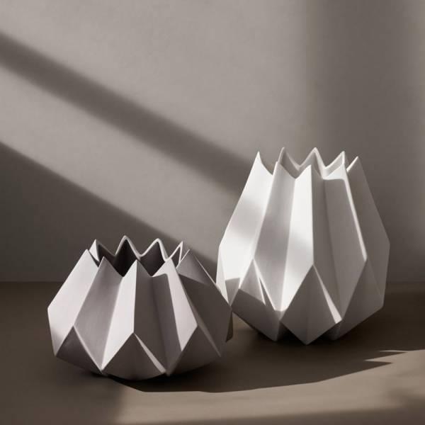 Folded Tall Vase - White
