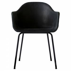 Harbour Dining Chair - Black Dunes Leather, Black Steel Base