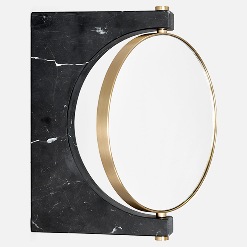 Pepe Wall Mirror Gold Black Marble