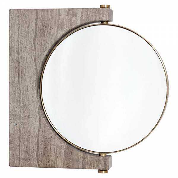 Pepe Wall Mirror - Gold, Honed Brown Marble