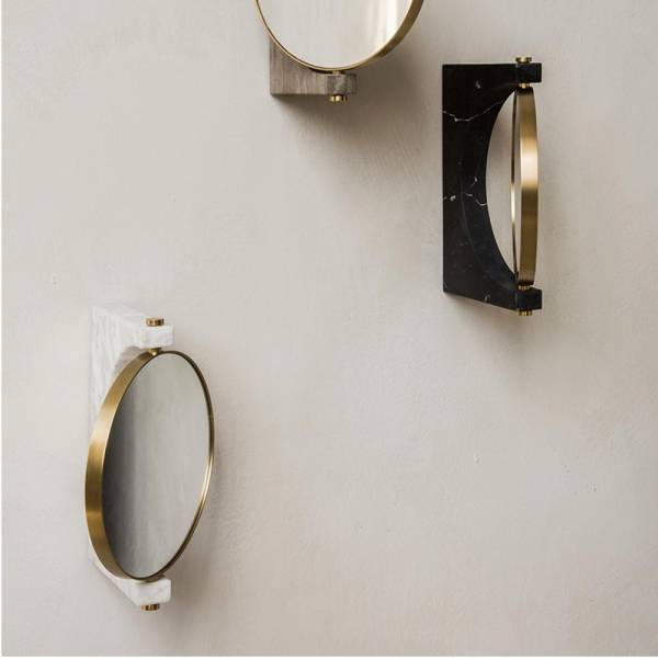 Pepe Wall Mirror - Gold, White Marble
