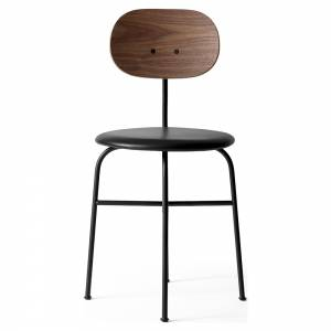 Afteroom Dining Chair Plus - Black Leather, Walnut