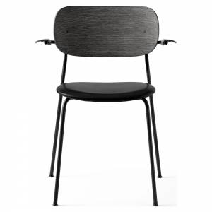 Co Dining Chair Upholstered Seat, Armrest - Black Leather, Black Oak