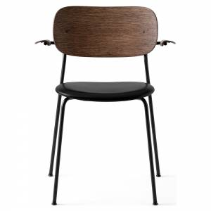 Co Dining Chair Upholstered Seat, Armrest - Black Leather, Dark Stained Oak