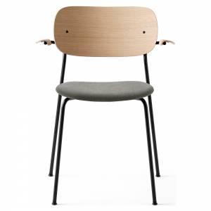 Co Dining Chair Upholstered Seat, Armrest - Gray Hallingdal 130, Natural Oak