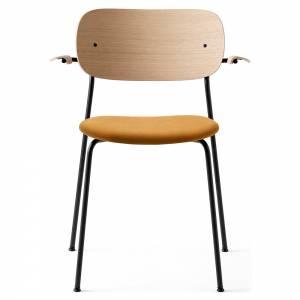 Co Dining Chair Upholstered Seat, Armrest - Orange Velvet, Natural Oak