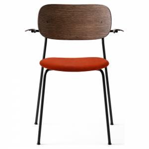 Co Dining Chair Upholstered Seat, Armrest - Red Velvet, Dark Stained Oak