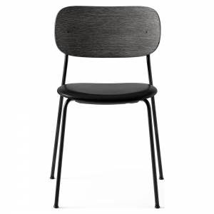 Co Dining Chair Upholstered Seat - Black Leather, Black Oak