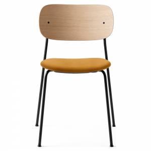 Co Dining Chair Upholstered Seat - Orange Velvet, Natural Oak