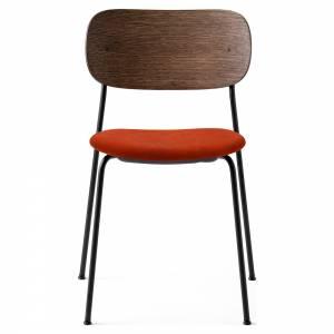 Co Dining Chair Upholstered Seat - Red Velvet, Dark Stained Oak