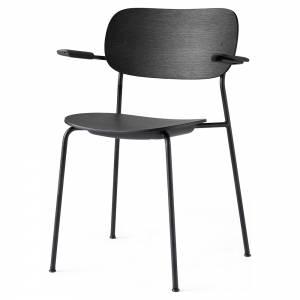 Co Dining Chair Wood Seat, Arm Rest - Black Oak, Black Base