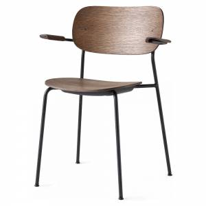 Co Dining Chair Wood Seat, Arm Rest- Dark Oak, Black Base